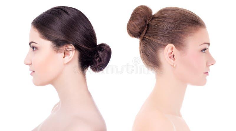 Compõe e o conceito dos cuidados com a pele - ideia lateral da sagacidade bonita das mulheres fotografia de stock