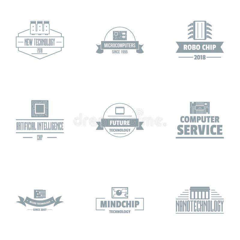 Comp services logo set, simple style. Comp services logo set. Simple set of 9 comp services vector logo for web isolated on white background vector illustration