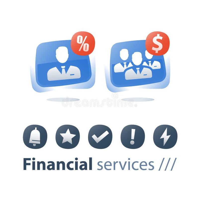 Compañía, crecimiento y consolidación pequeños y grandes, adquisición de negocio, servicio corporativo, gestión de fondos mutua stock de ilustración