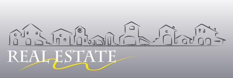 Compañía de propiedades inmobiliarias - bandera del Web stock de ilustración