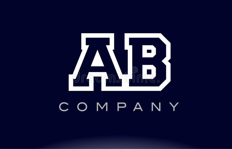 Compañía del icono del logotipo de la letra del alfabeto del AB A B ilustración del vector