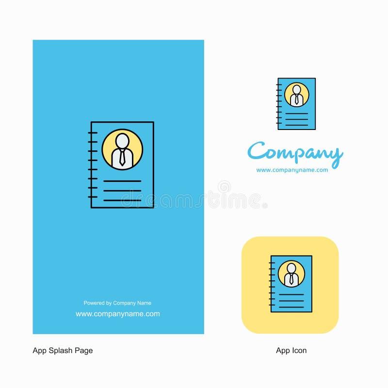 Compañía personal Logo App Icon del diario y diseño de la página del chapoteo Elementos creativos del diseño del App del negocio libre illustration