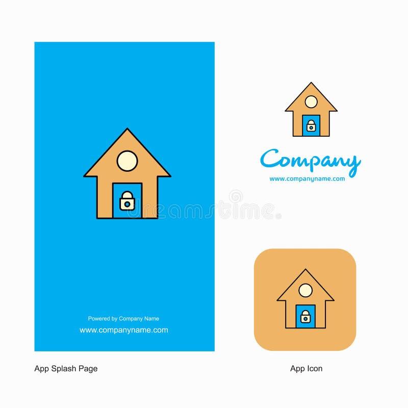 Compañía segura Logo App Icon de la casa y diseño de la página del chapoteo Elementos creativos del diseño del App del negocio stock de ilustración