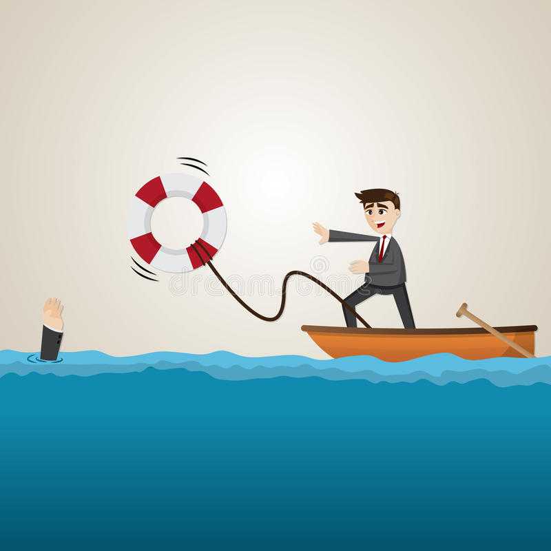 Compañero de equipo de ayuda del hombre de negocios de la historieta con salvavidas ilustración del vector