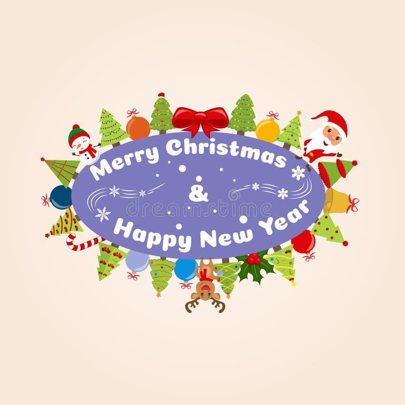 Compañeros de la feliz Navidad del ejemplo de la Navidad Santa Claus, muñeco de nieve, reno y muchos árboles de navidad ilustración del vector