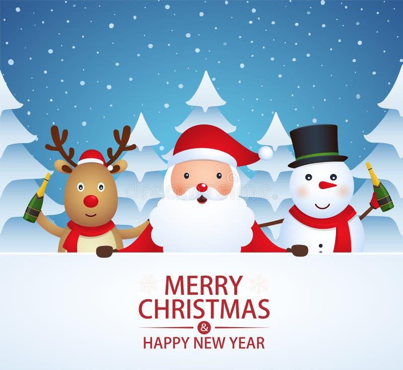 Compañeros de la Navidad con champán libre illustration