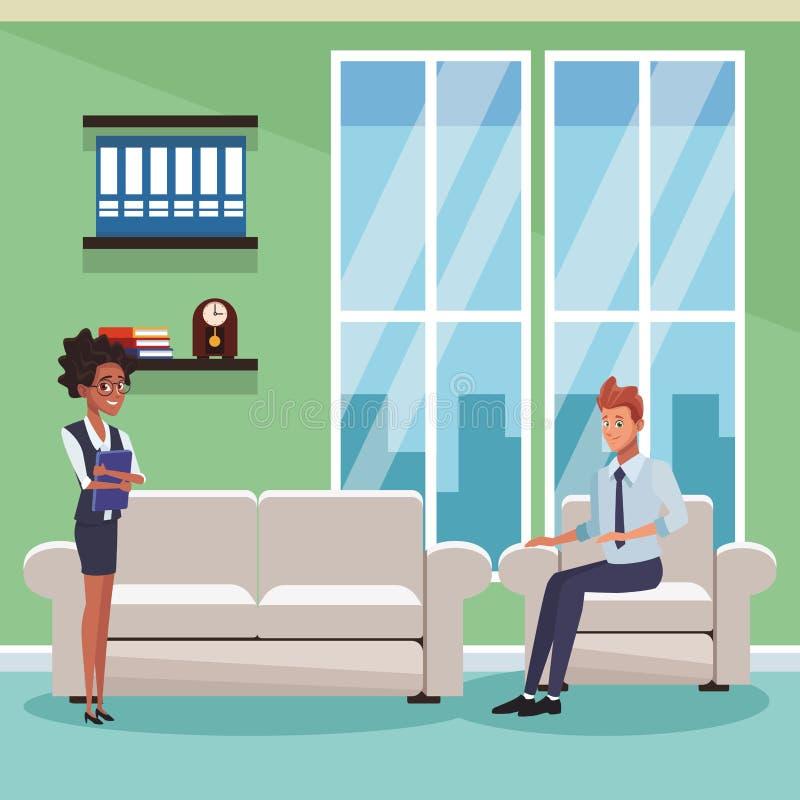 Compañeros de trabajo del negocio en la oficina ilustración del vector