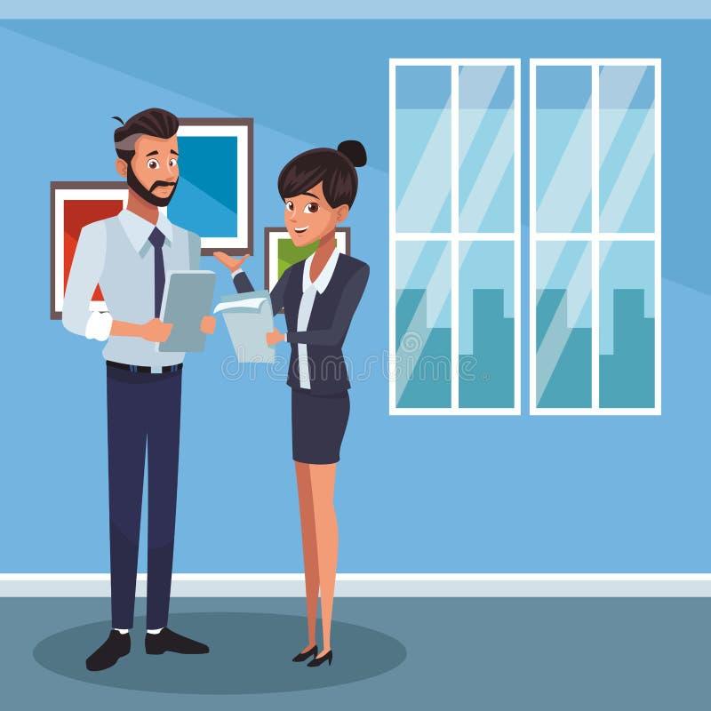 Compañeros de trabajo del negocio en la oficina stock de ilustración