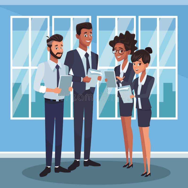 Compañeros de trabajo del negocio en la oficina libre illustration