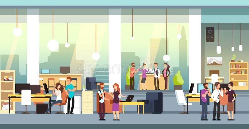 Compañeros de trabajo en oficina Gente en coworking la oficina del espacio abierto, espacio de trabajo Empleados que hablan y que libre illustration