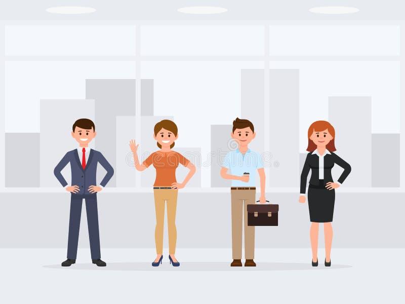 Compañeros de trabajo que se colocan en el personaje de dibujos animados de la oficina Vista delantera de colegas felices jovenes libre illustration