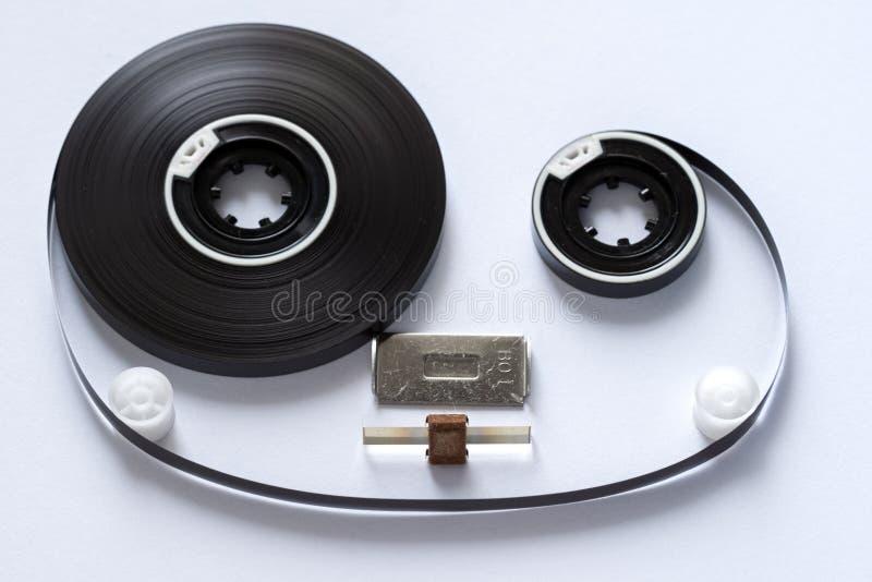 Compact audio cassette tape reels concept closeup stock image