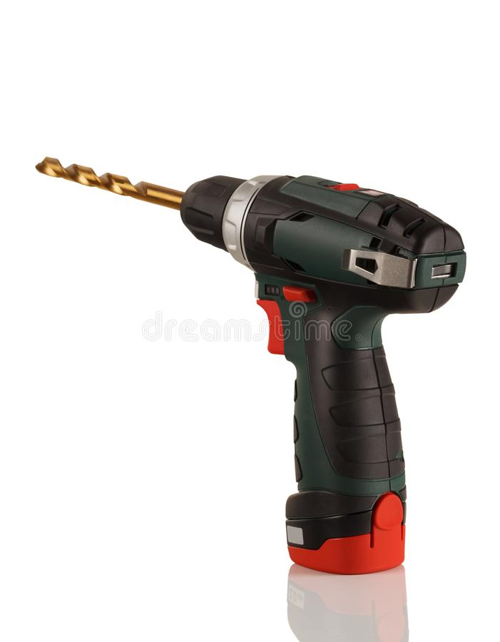 Compact battery drill screwdriver. On white background royalty free stock photography