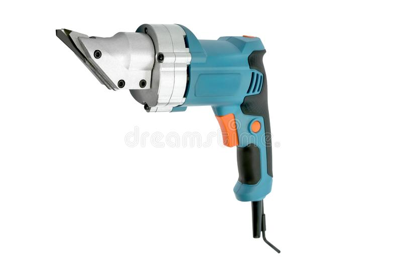 Compact blue electric pruner on the white background stock image