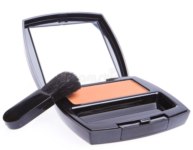 Compact blush with brush stock photography