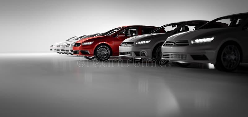 Compact cars fleet in the studio garage stock illustration