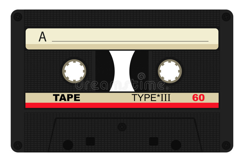 Compact cassette. Vector illustration of compact cassette on a white background stock illustration