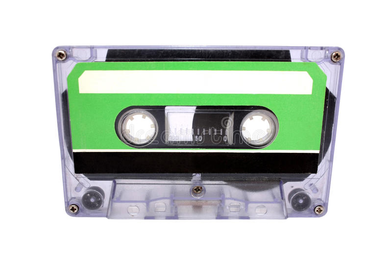 Compact Cassette isolated on white. Front view royalty free stock image