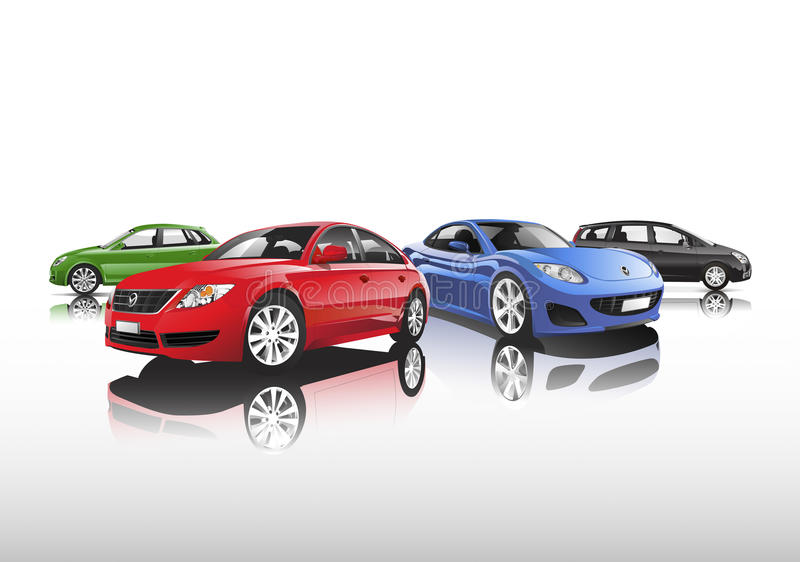 Compact contemporary city car collection vector illustration