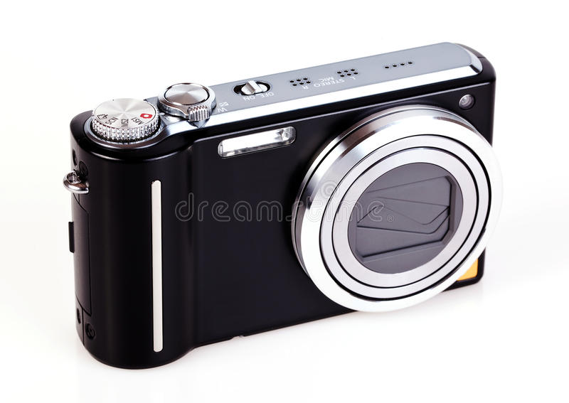 Compact digital camera. Isolated on white background stock images