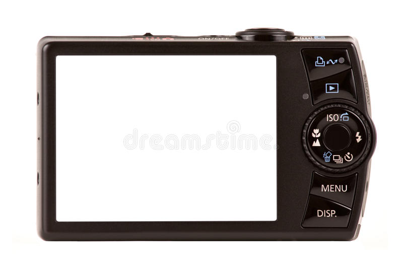 Download Compact Digital Camera Rear View Isolated On White Stock Image - Image of digicam, space: 11234761