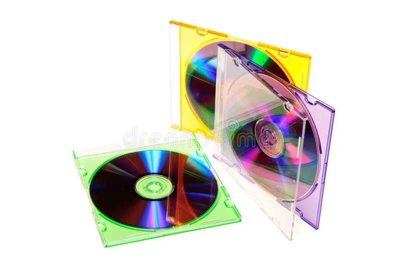 Compact disc. Isolated on white stock images