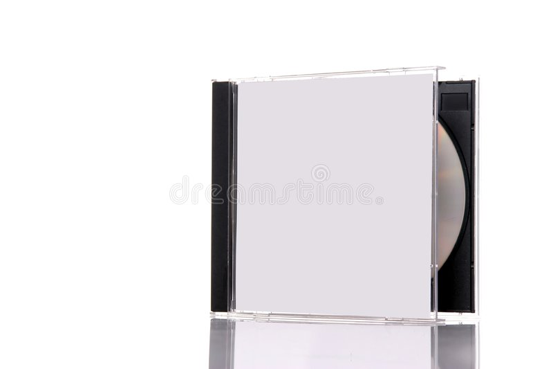 Compact disc in box. A compact disc in the box, isolated on white background with reflection. Almost closed box stock image