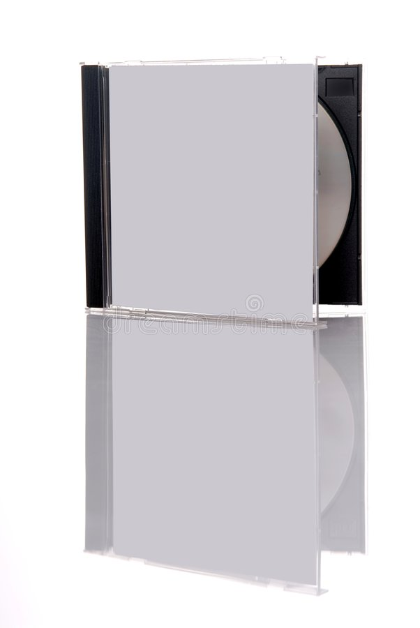 Compact disc in box. A compact disc in the box, isolated on white background with reflection stock images