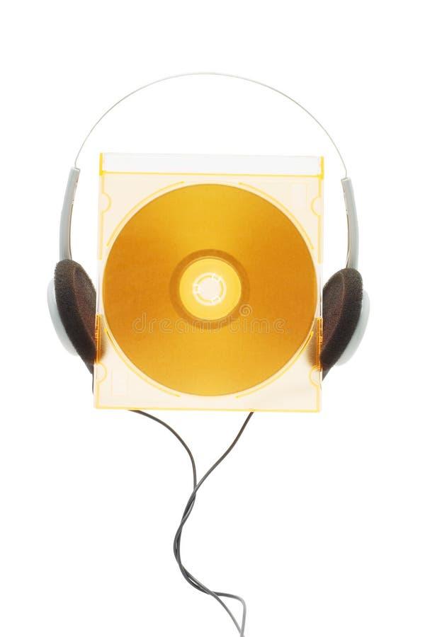 Compact disc e cuffia fotografie stock libere da diritti