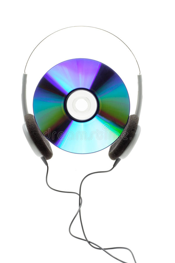 Compact disc and headphone. Conceptual image of compact disc and headphone on white backgound royalty free stock photography