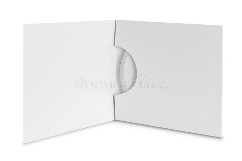 Compact disc package on white background. White compact disc package on white background ready for your design stock photo