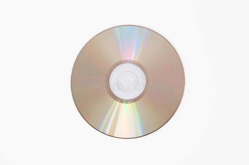 Compact Disc. A shiny compact disc white background royalty free stock photo