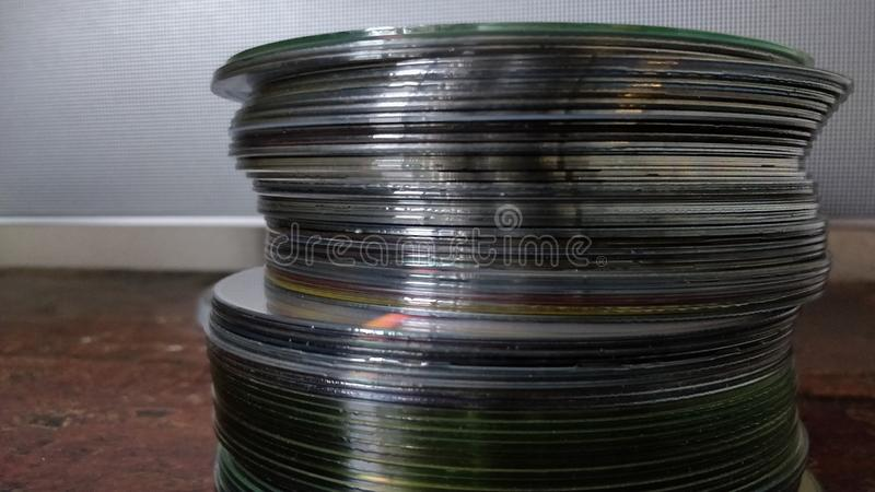 Cd, Compact disc. Compact disc tower royalty free stock image