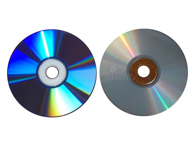Compact Discs Difference - Empty and Full CDs Isolated. Compact Discs Difference - Empty and Full CDs. Format, kind of digital optical disc data storage. Memory royalty free stock photo