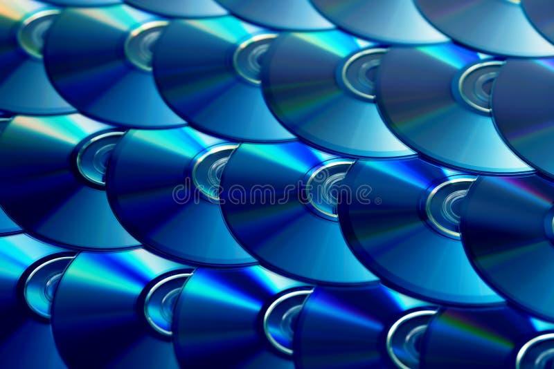 Compact-discsachtergrond Verscheidene schijven blu-Ray van CD dvd Optische recordable of rewritable digitale gegevensopslag royalty-vrije stock afbeeldingen