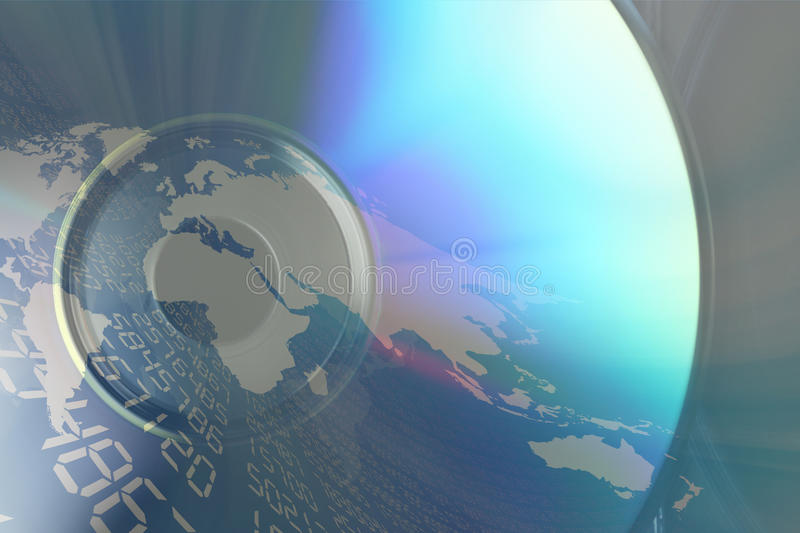 Compact Disk. Image in the foreground of a compact disk and on I break down him/it a map of the world and a series of computerized data stock illustration