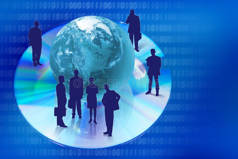 Download Compact Disk With Globe And People Silhouettes Royalty Free Stock Photos - Image: 23289418