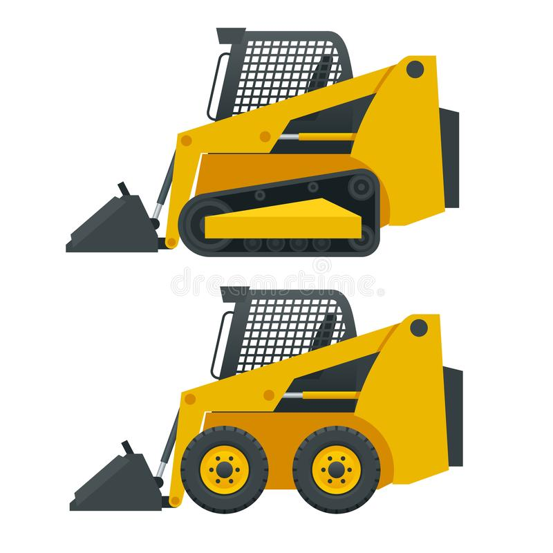 Compact Excavators. Steer Loader side view isolated on a white background.  royalty free illustration