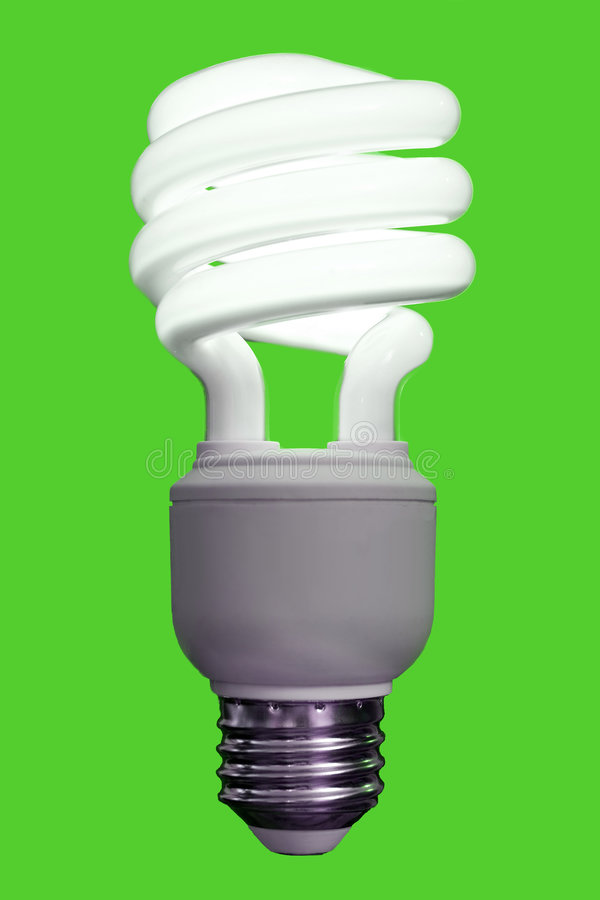 Compact Fluorescent Bulb. Close up of a compact fluorescent light bulb, turned on stock photos