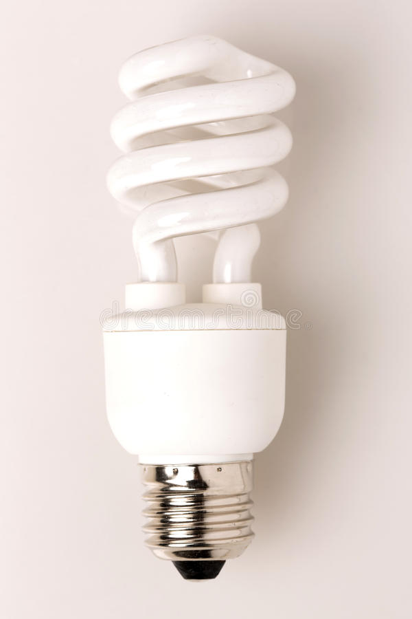Compact fluorescent lamp (CFL). Energy saving fluorescent light bulb (CFL stock image