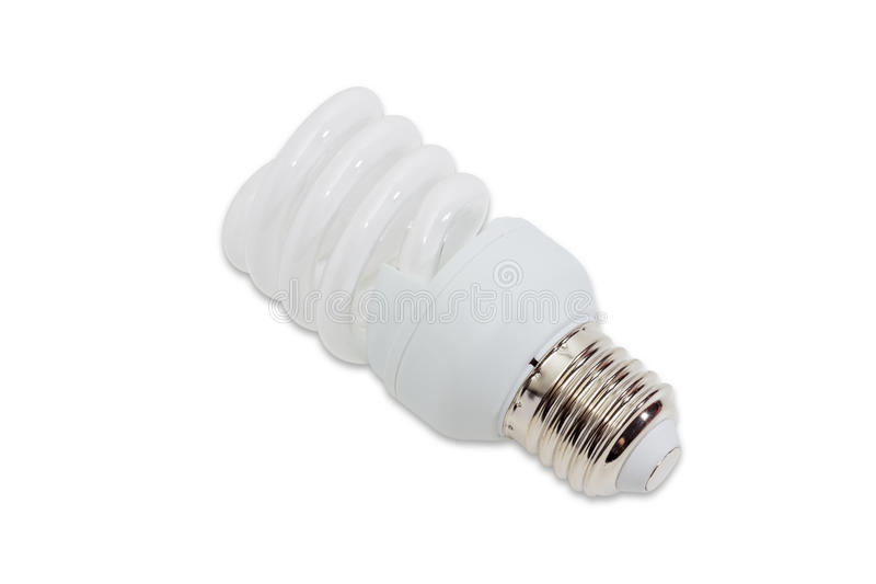 Compact fluorescent lamp on a light background. Compact energy saving fluorescent electric light bulb tubular type with helical tube on a light background royalty free stock image