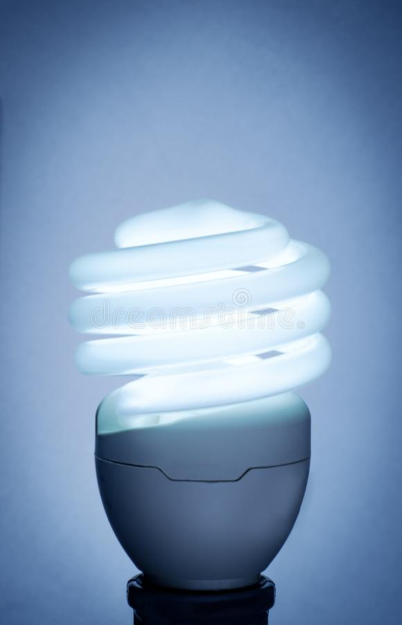 Compact Fluorescent Lamp. Compact fluorescent lightbulb with neon back lighting royalty free stock photography