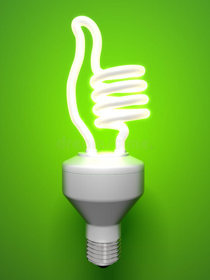 Compact fluorescent lamp - thumbs-up stock illustration