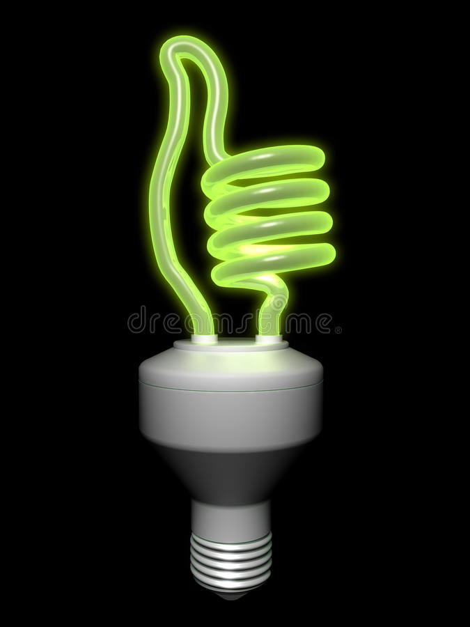 Compact fluorescent lamp - thumbs-up vector illustration