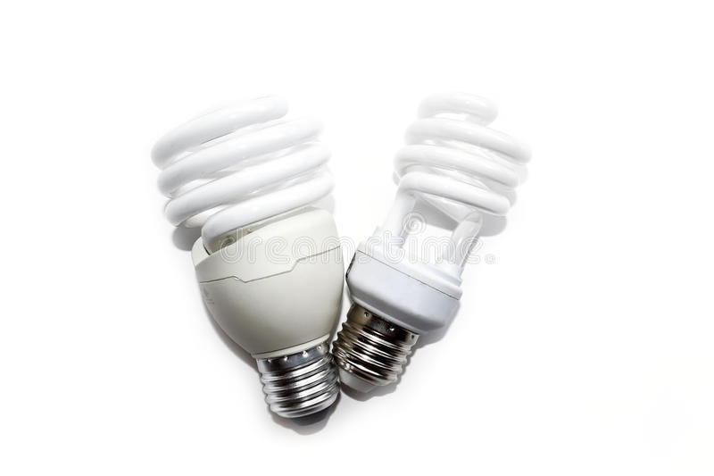 Compact fluorescent lamps isolate on white background royalty free stock photography