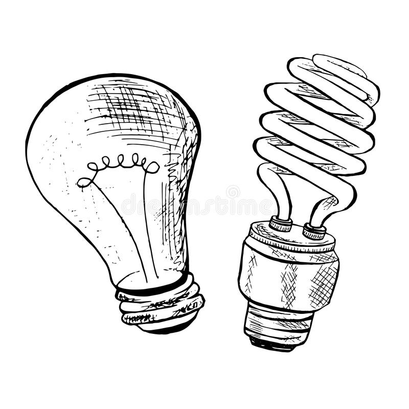 Compact fluorescent light bulb and light bulb sketch. Ink sketch bulb icons royalty free illustration