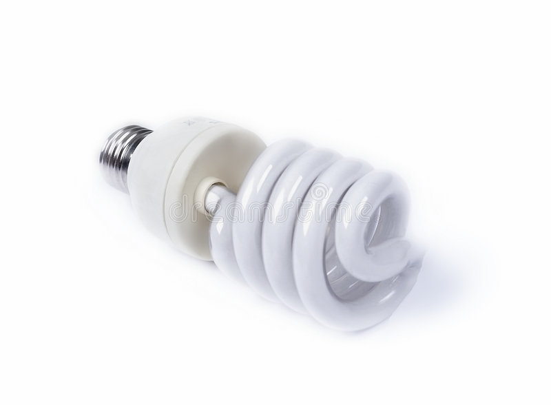 Compact fluorescent light bulb - spiral tube. Compact fluorescent light bulb with spiral tube stock images