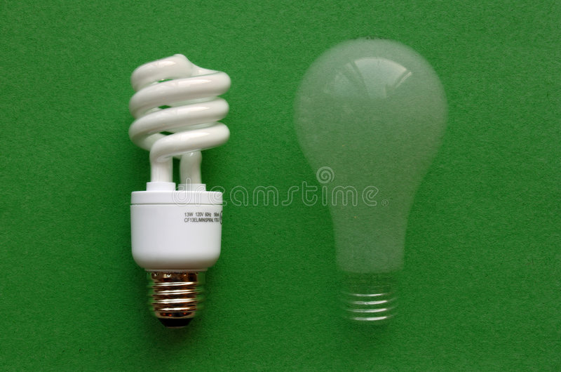 Compact Fluorescent Light (CFL) & incandescent. Compact fluorescent light with fading incandescent bulb created using a multiple exposure royalty free stock photography