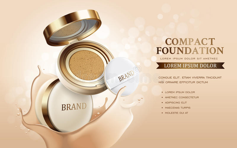 Compact foundation ads. Attractive makeup essential product with texture on glitter bokeh background, 3d illustration stock illustration