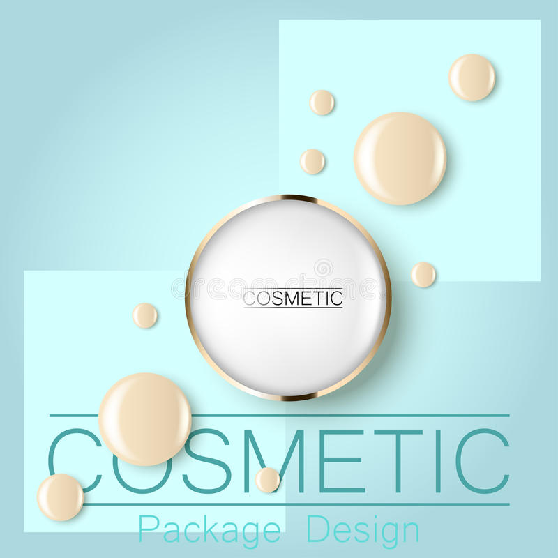 Compact foundation and a drop of the design template advertising cosmetics 3d. Top view on a blue background realistic. Illustration of a packaging design cream stock illustration